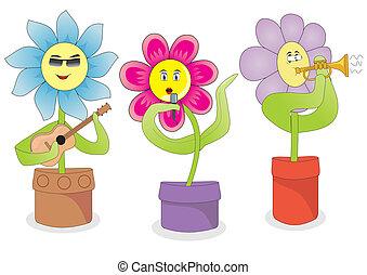 flores, cantando