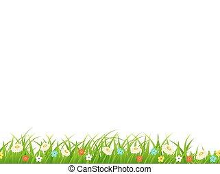 flores, capim, foliage, plants.