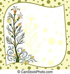 flores, cartão amarelo