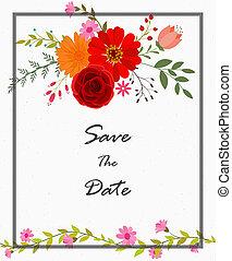 flores, cartão, convite