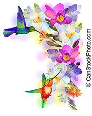 flores, cartão, humming-birds