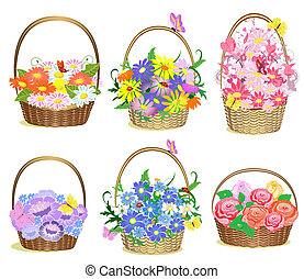flores, cestas