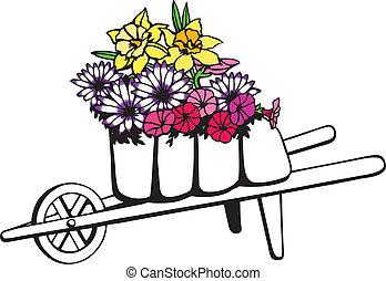 flores, cheio, carrinho de mão