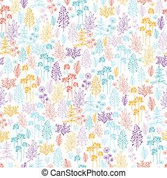 flores coloridas, e, plantas, seamless, padrão, fundo