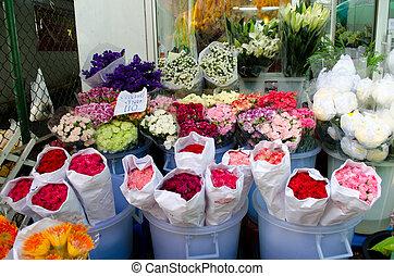 flores coloridas, en, el, flowermarket, en, bangkok
