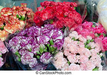 flores coloridas, en, el, mercado de flor, en, bangkok,...