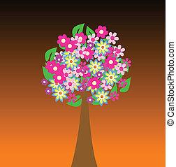 flores, coloridos, árvore