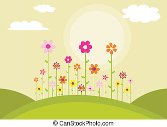 flores, coloridos, primavera