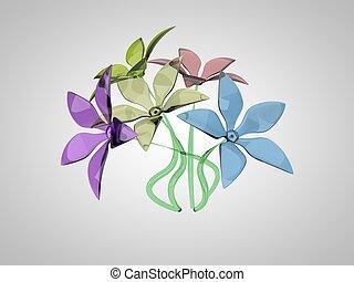flores, coloridos, vidro, buquet