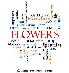 flores, concepto, palabra, nube