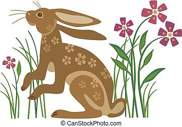 flores, conejo