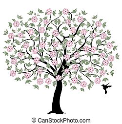 flores, cor-de-rosa, árvore