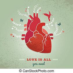 flores, coração, valentines, amor, fundo