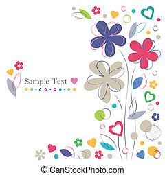 flores, corações, cartão, saudação