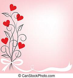 flores, corazón, ramo, formado