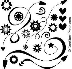 flores, corazones, flechas