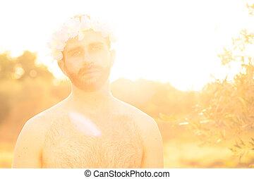 flores, corona, hombre