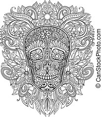 flores, cráneo humano, hecho
