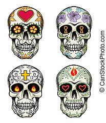 flores, cráneos