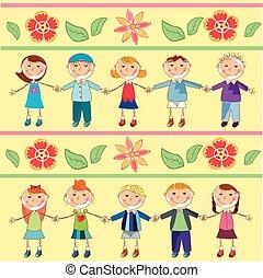 flores, crianças, padrão