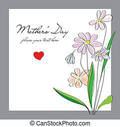 flores, día, tarjeta, madres