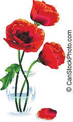flores de seda, rojo, amapolas