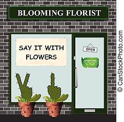 flores, decir, florista, él