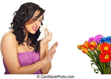 flores del resorte, alergia, teniendo, mujer