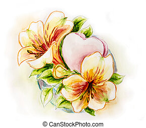 flores del resorte, con, heart., acuarela, painting.