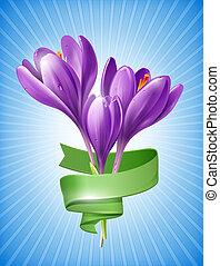 flores del resorte, con, verde, cinta