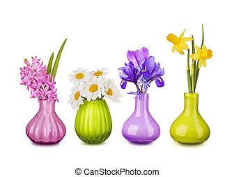 flores del resorte, en, floreros