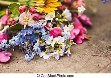 flores del resorte, encima de cierre