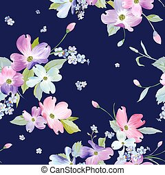 flores del resorte, seamless, pattern., acuarela, floral, plano de fondo, para, invitación boda, tela, papel pintado, textile., botánico, mano, dibujado, texture., vector, ilustración