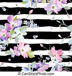 flores del resorte, seamless, pattern., acuarela, floral, plano de fondo, para, invitación boda, tela, papel pintado, print., botánico, mano, dibujado, texture., vector, ilustración