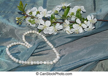 flores del resorte, seda, perlas