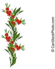 flores del resorte, tulipanes, aislado, blanco, plano de fondo