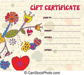 flores, desenho, girft, certificado, retro