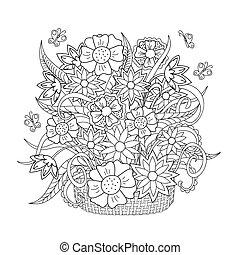 flores, doodle, borboleta, erva