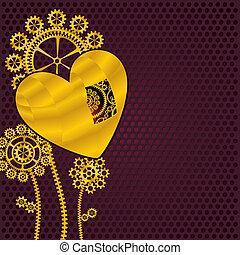 flores douradas, engrenagem, coração