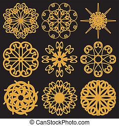 flores douradas, jogo, pretas