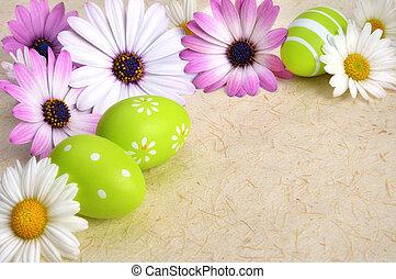 flores, e, ovos páscoa, ligado, pergaminho