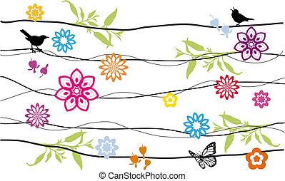flores, e, pássaros