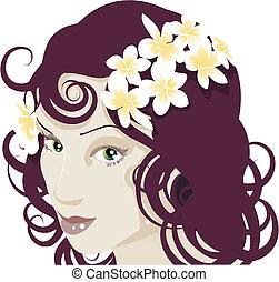 flores, em, dela, cabelo