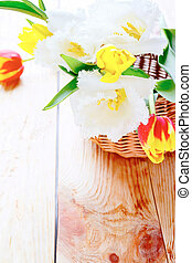 flores, em, um, cesta