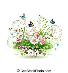 flores, en, el, pasto o césped