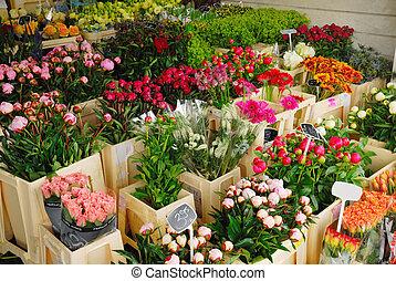 flores, en venta, en, amsterdam, el, países bajos