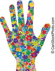 flores, enchido, mão