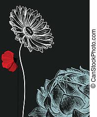 flores, encima, fondo oscuro, invitación