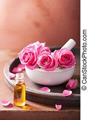 flores, essencial, aromatherapy, morteiro, rosa, óleo