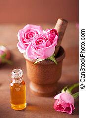 flores, essencial, aromatherapy, morteiro, spa, rosa, óleo